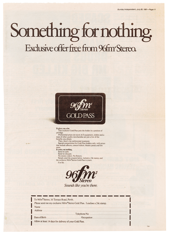 1981.07.26 - Advert - 96FM Gold Pass - The Sunday Independent.png