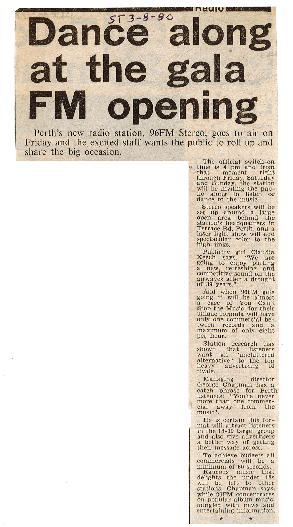 1980.08.03 - Article - Dance along at the gala FM opening - The Sunday Times.png