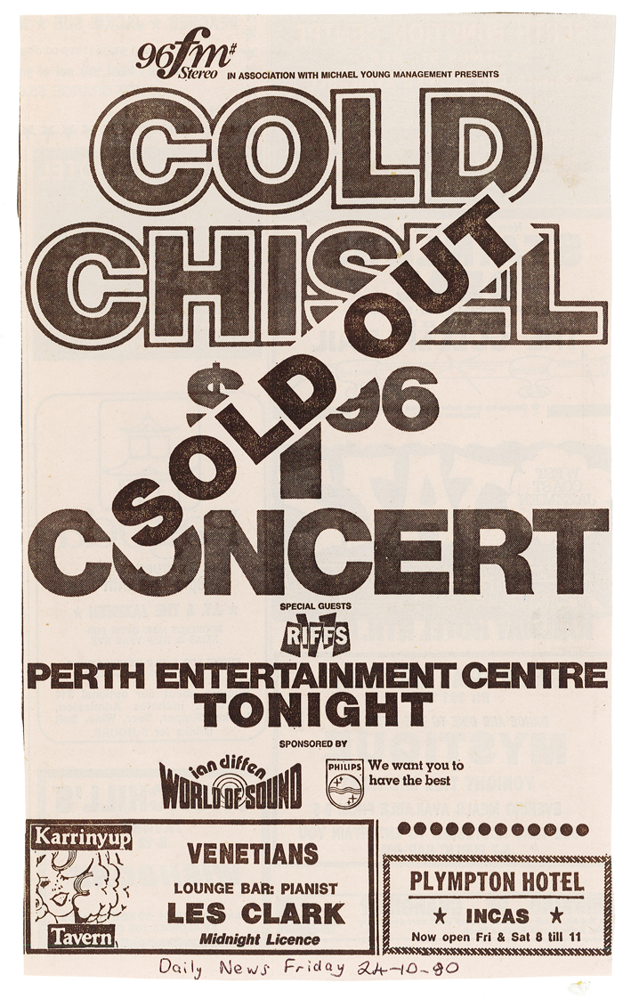 1980.10.24 - Advert - Cold Chisel $1.96 Concert Sold Out - Daily News.png