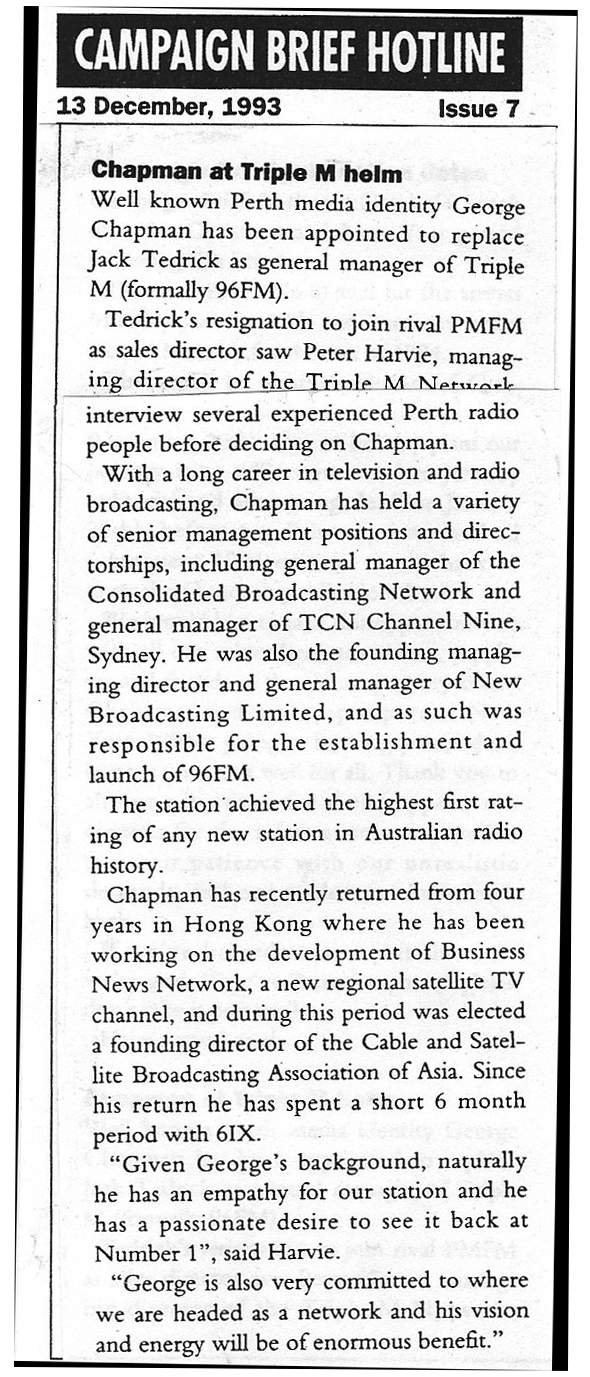 1993.12.13 - Article - Chapman at Triple M helm - Campaign Brief.png