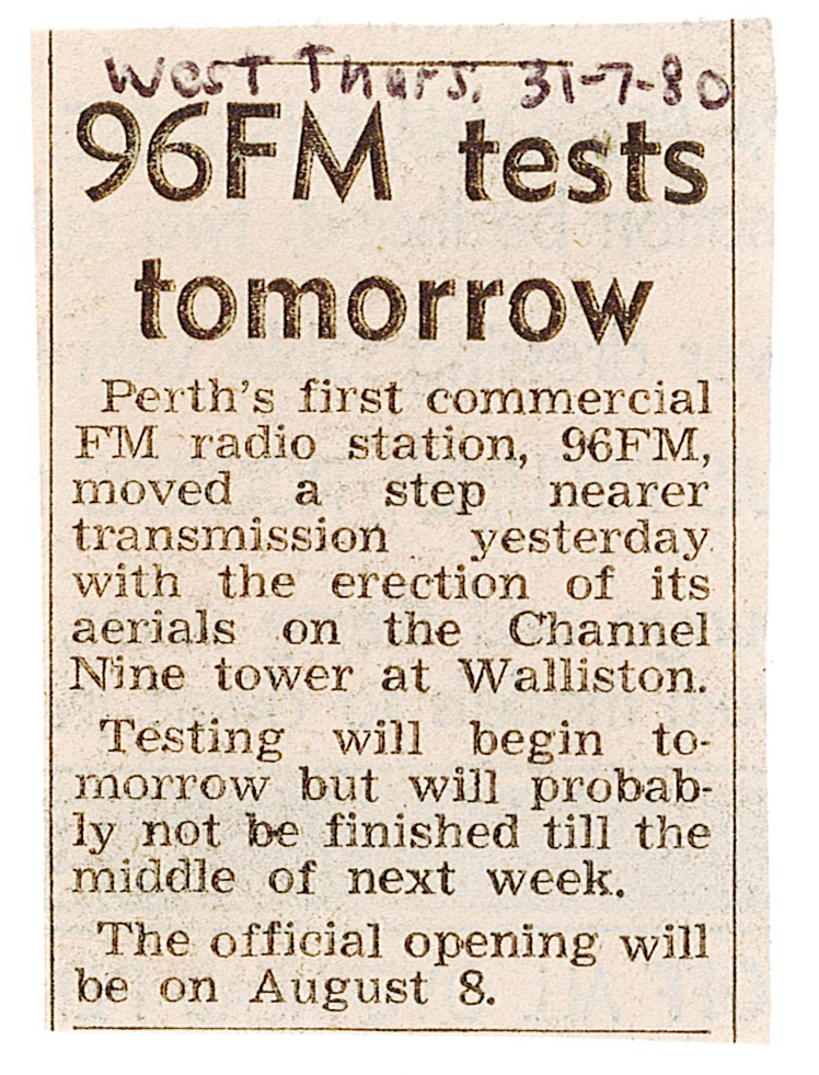 1980.07.30 - Article - 96FM tests tomorrow - The West Australian.png