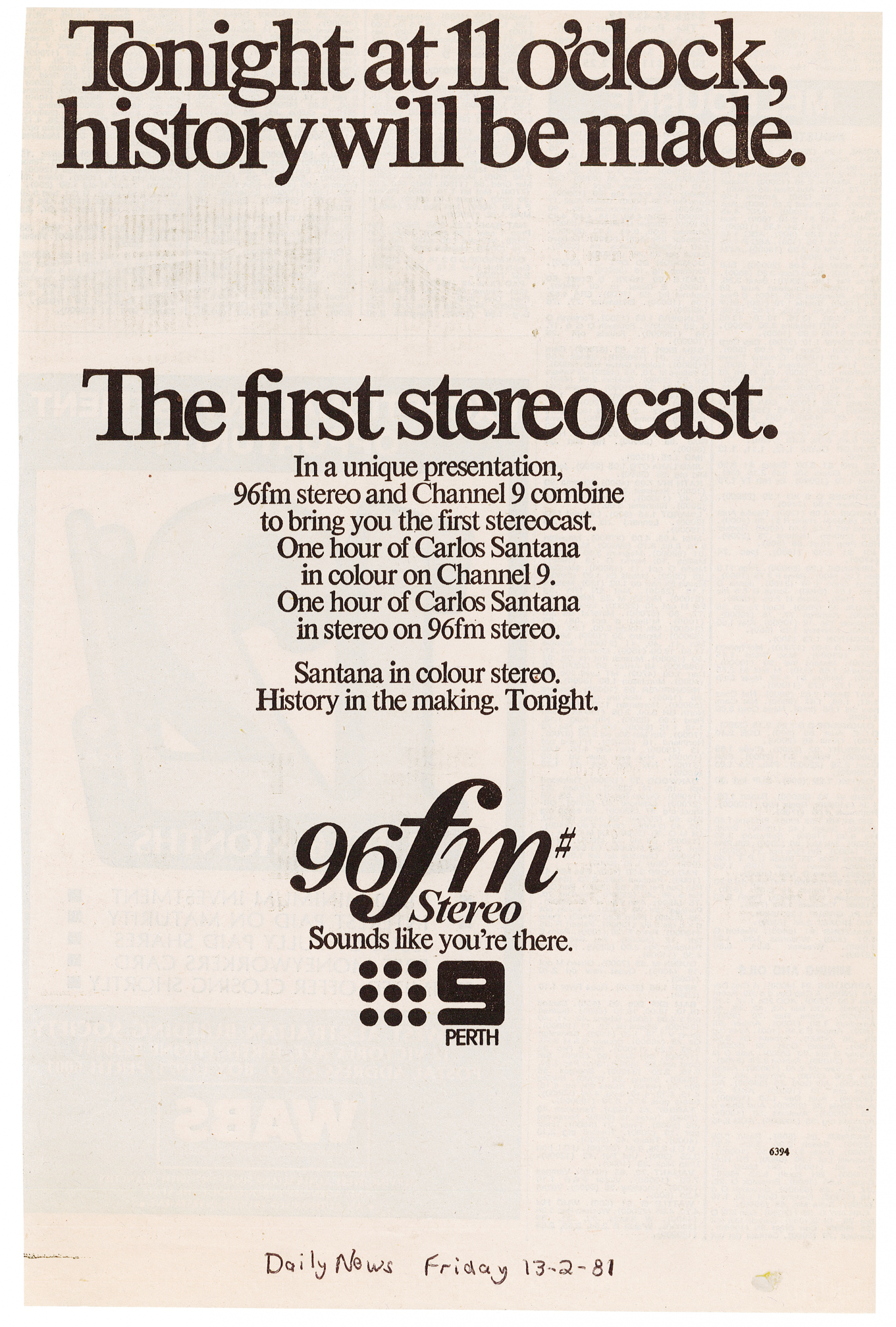 1981.02.13 - Advert - First Stereocast - Daily News.png
