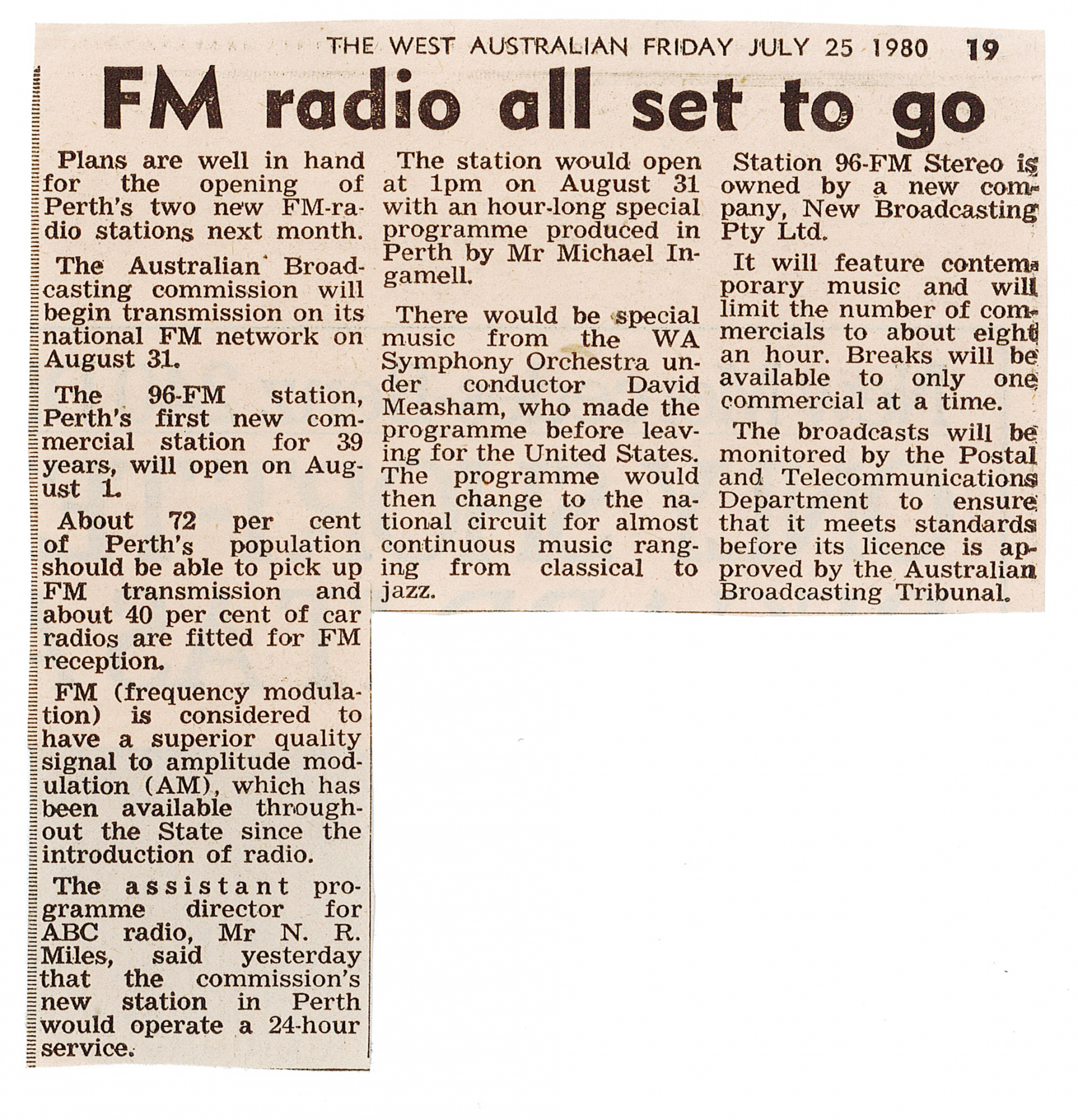 1980.07.25 - Article - FM Radio all set to go - The West Australian.png